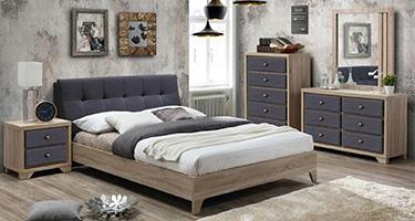 Artisan Grey Fabric and Beech Wood Bedroom