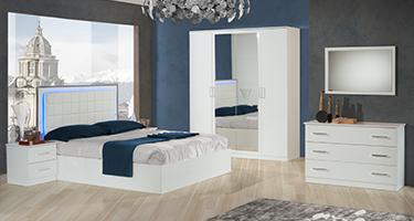 Ben Company Ambra White Finish Italian Bed Group Set