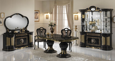 Ben Company Betty Black and Gold Finish Italian Dining Room