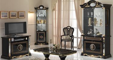 Ben Company Betty Black and Gold Finish Italian Living Room