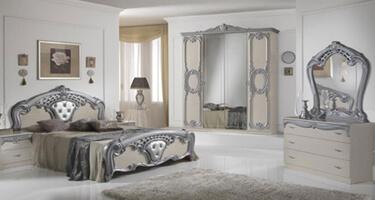 Ben Company Cristina Beige and Silver Finish Italian Bedroom