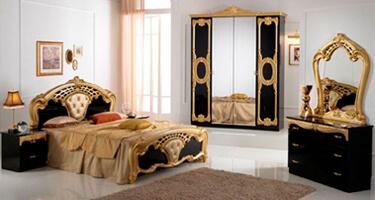 Ben Company Cristina Black and Gold Finish Italian Bedroom