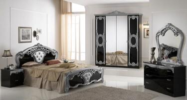 Ben Company Cristina Black and Silver Finish Italian Bedroom