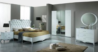 Ben Company Daniela White and Silver Italian Bedroom