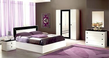Ben Company Idea White Finish Italian Bed Group Set