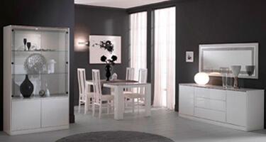 Ben Company Nadia White Finish Italian Dining Room
