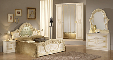 Ben Company Sara Padded Beige Finish Italian Bed Group Set