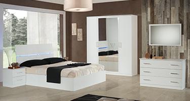 Ben Company Simona White Finish Italian Bed Group Set