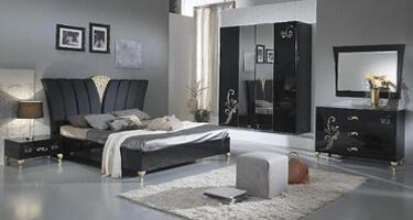 Ben Company Sofia Black and Gold Italian Bedroom