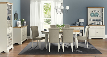 Bentley Designs Hampstead Soft Grey and Oak Dining