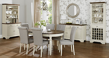 Bentley Designs Hampstead Soft Grey and Walnut Dining