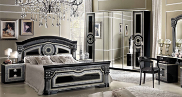 Camel Group Aida Black and Silver Italian Bedroom