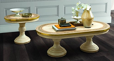 Camel Group Aida Ivory and Gold Italian Living Room