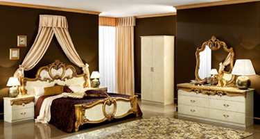 Camel Group Barocco Ivory with Gold Finish Italian Bedroom