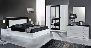 Dima Mobili Amal White and Black Bedroom