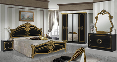 Dima Mobili Amalfi Black and Gold Bedroom
