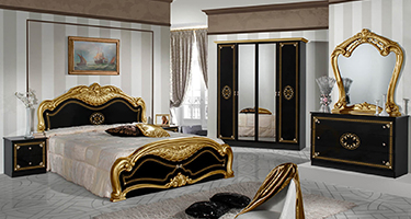 Dima Mobili Lucy Black and Gold Bedroom