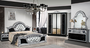 Dima Mobili Marwa Black and Silver Bedroom