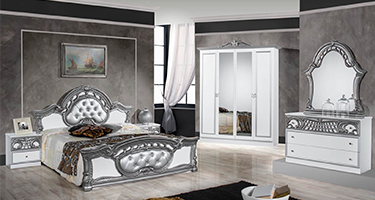 Dima Mobili Marwa White and Silver Bedroom
