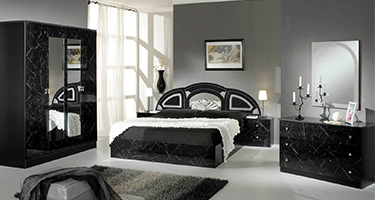 Dima Mobili Safa Marble Black and Silver Bedroom