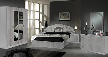 Dima Mobili Safa White and Silver Bedroom