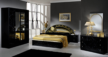 Dima Mobili Salma Marble Black and Gold Bedroom