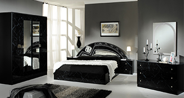 Dima Mobili Salma Marble Black and Silver Bedroom