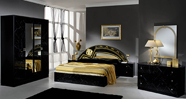 Dima Mobili Salwa Marble Black and Gold Bedroom