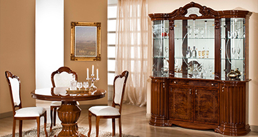 H2O Design Elizabeth Walnut Radica Italian Dining Room