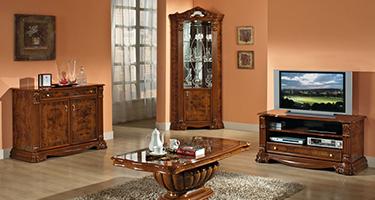 H2O Design Elizabeth Walnut Radica Italian Living Room