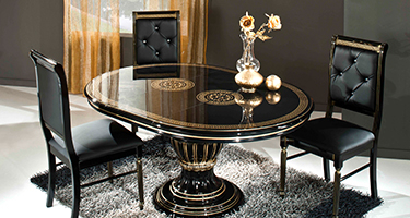 H2O Design Rossella Black and Gold Italian Dining Room