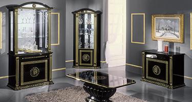 H2O Design Rossella Black and Gold Italian Living Room
