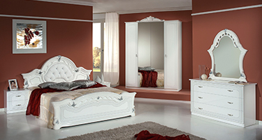 H2O Design Stella White and Silver Italian Bedroom