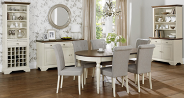 Bentley Designs Hampstead Soft Grey and Walnut Dining Room
