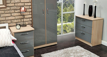 Ha Long Bay High Gloss Dusk Grey and Light Oak