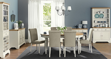 Bentley Designs Hampstead Soft Grey and Pale Oak Dining Room