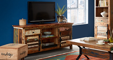 Indian Hub Coastal Reclaimed Wood Living Room