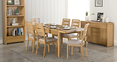 Julian Bowen Curve Solid Oak Dining Room