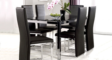 Julian Bowen Tempo Black Glass Dining Room