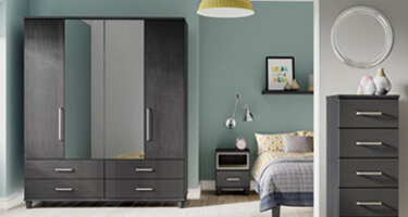 KT Furniture Deco Black And Graphite Bedroom