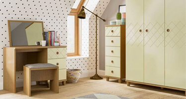 KT Furniture Geo Alabaster And Oak Bedroom