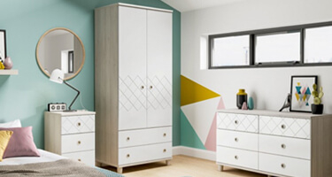 KT Furniture Geo White And Elm Bedroom