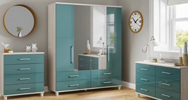 KT Furniture Halo Gloss Lagoon Bedroom