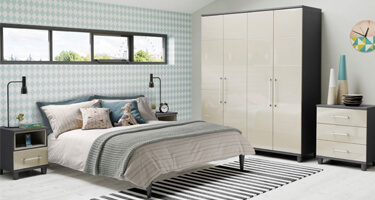 KT Furniture Halo Gloss Pale Grey Bedroom