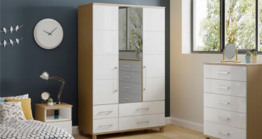 KT Furniture Halo Gloss White Bedroom