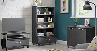 KT Furniture Moda Graphite And Black Living Room