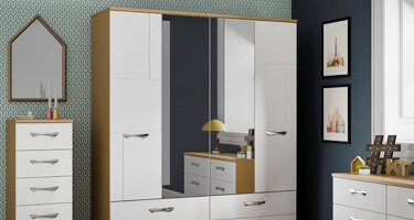KT Furniture Moda White And Oak Bedroom