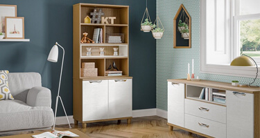 KT Furniture Moda White And Oak Living Room