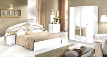 MCS Athena White Gloss Finish Italian Bedroom