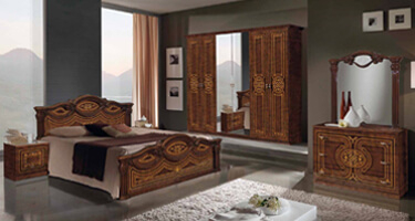 MCS Nena Walnut Finish Italian Bedroom